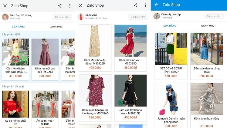 kinh doanh thời trang trên Zalo Shop