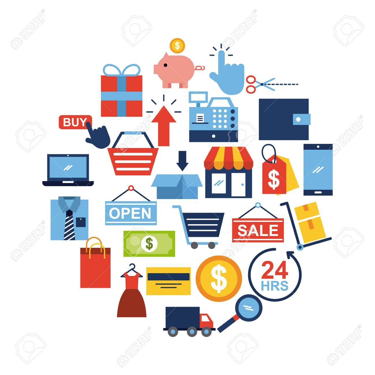 Online Shopping Icons Set Icon Vector Illustration Design Graphic Royalty  Free Cliparts, Vectors, And Stock Illustration. Image 79225065.